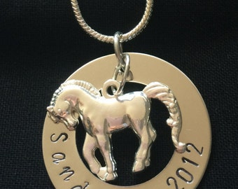 Sterling Silver Horse Necklace Personalised
