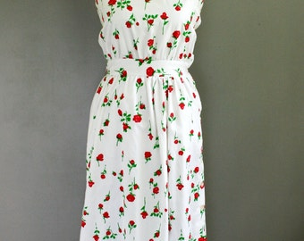 1960-70's - Carroll Reed - Cotton Sundress - Roses - Floral Print