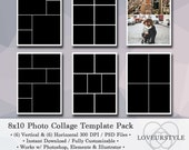 8x10 Digital Photo Template Pack, Photo Collage, Scrapbook Templates, Photography Templates, Instant Download, Photoshop, Elements, Design
