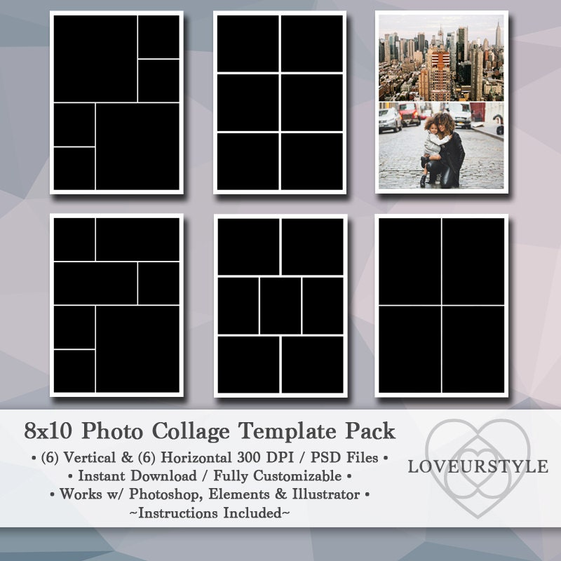8x10 Wedding Albums: 8x10 Digital Photo Template Pack Photo Collage Scrapbook