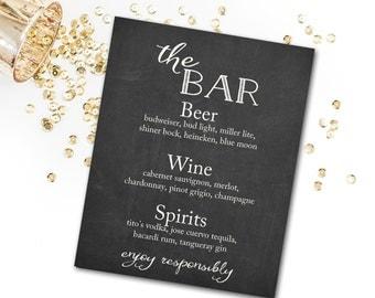 Bar Menu Sign, Editable Bar Menu , Wedding Bar Menu , Party Bar Menu , Bar Menu DIY Printable INSTANT DOWNLOAD