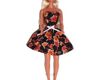 Fashion Doll Clothes-Autumn Leaves Print Strapless Party Dress