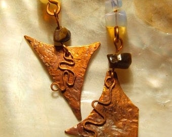 Soft copper earrings and Tiger eye