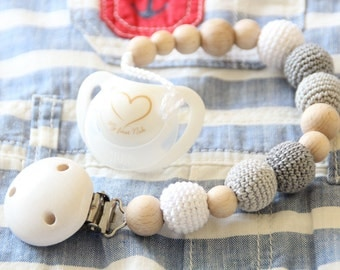 Natural and stylish baby pacifier clip / Baby dummy holder / Teething beads