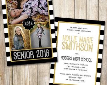 High School Graduation Announcement, Senior, Graduation Invitation, Black and Gold, Photo Graduation Announcement, Announcement, Printable
