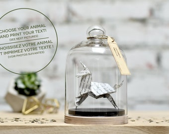 Origami Sculpture Unicorn. Text Printed. Custom Gift. Wedding Vows. Paper Anniversary Gift for Him. Taxidermy. First Year Gift for Her