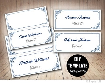 Elegant Wedding Placecard Template Foldover, Blue Place card, Instant Download,Navy Wedding Blue Placecards, Navy Placecards