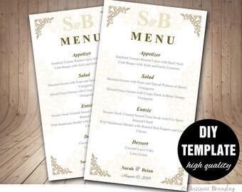 Printable Wedding Menu Template 4x7,DIY Menu Template, DIY Wedding Menu Card,Gold Wedding Instant Download,Elegant Wedding Menu Template