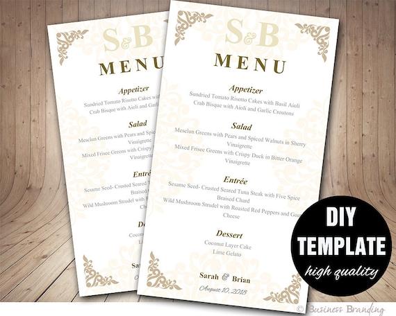 Printable Wedding Menu Template 4x7DIY Menu Template DIY