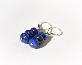 Lapis Earrings Lapis Lazuli Earrings Sterling Silver Three Stones Blue Earrings Royal Blue Lapis Lazuli Jewelry Dark Blue Cobalt Blue #16443