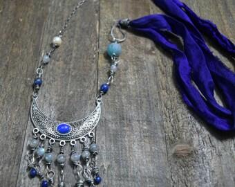 Gypsy Lapis Lazuli and Labradorite Boho Necklace, Bohemian Jewelry, Sari Silk, Sterling Silver, Oxidized Silver, Evil Eye, Beaded Fringe