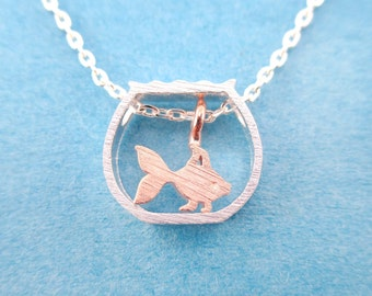 Miniature Goldfish in a Fish Bowl Shaped Minimal Charm Necklace in Silver | Handmade Animal Jewelry