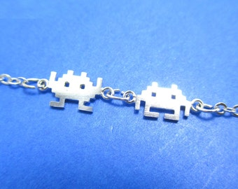 Space Invaders Gamer Girl Pixel Alien Charm Bracelet in Silver | Atari Arcade Game Inspired Jewelry