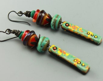 Boho Earrings, Cottage Chic Earrings, Colorful Earrings, Turquoise Earrings, #622-114