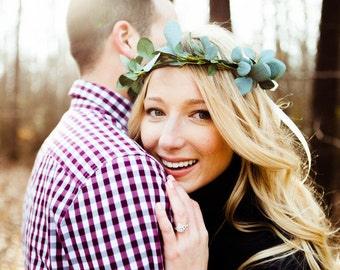 RIBBON STYLE - Greenery Flower Crown / Eucalyptus Crown / Greenery / Bridesmaid Greenery Crown / High Quality Flowers / Bohemian Bride