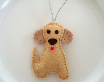 Goldendoodle Personalized Felt Christmas Handmade Ornament