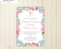 invitacion de comunion floral invitacion niña imprimible primera comunion invitacion first communion girl in spanish fiesta en español  108