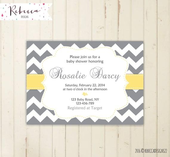 gray and yellow baby shower chevron baby shower Invitation