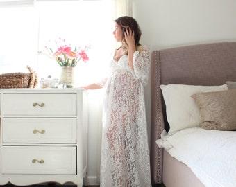 Bohemian Maternity Lace Gown maternity dress kimono sleeve