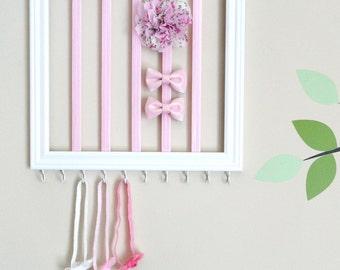 Square headband & hair clip holder - Princess pink
