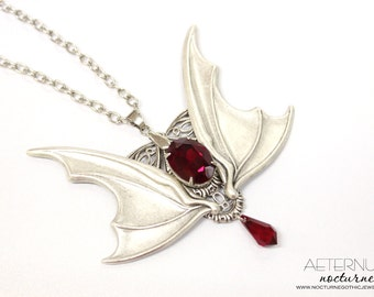 Vampire Gothic necklace - silver plated bat wings and blood red Swarovski crystals, male jewelry, vampire jewlery - Gothic jewelry