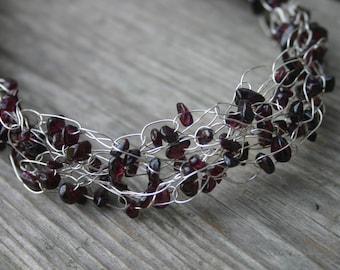 Garnet Crocheted Silver Wire Necklace, Garnet Necklace, Garnet Gemstone Necklace