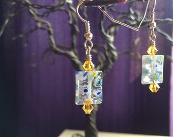 Italian Murano Glass beaded earrings with Swarovski Crystal accents