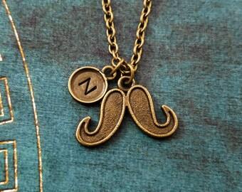 Mustache Necklace VERY SMALL Mustache Jewelry Moustache Necklace Mustache Charm Necklace Bronze Mustache Pendant Boyfriend Necklace Gift