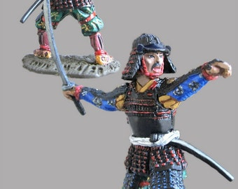 Japanese Samurai Miniature Soldiers Figures 16th Century Medieval 1/32 Scale Hand Painted 54mm Tin Sculpture Miniature