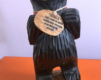 """Wooden Black Bear - Hand Carved in The Adirondack Mountains of New York  9"""" Tall"""