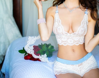 FOXERS Ivory Lace Bralette with Light Blue Dot Straps | Lace Lingerie | FXLAC-1121