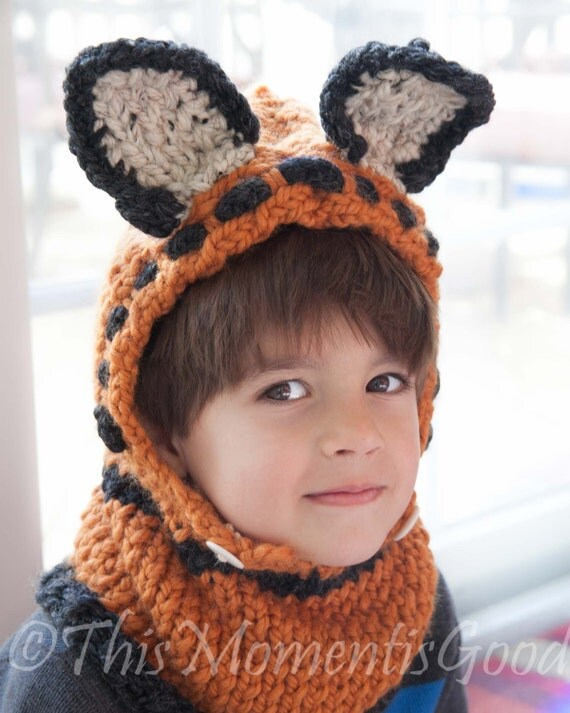 Knitting Pattern Fox Hood : Loom Knit Fox Hood & Cowl PATTERN. Toddler and Child Size.