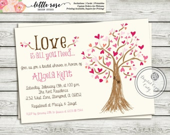 Bridal Shower Invitation - Wedding Shower Invite - Valentine's Invite - Mother's Day - Heart Tree - Baby Shower - Printable - LR1019