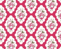Wiltshire Daisy Fabric, Riley Blake C4332 Red, Carina Gardner, Red Floral Fabric, Girls Quilt Fabric, Floral Medallion Fabric