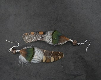 Pair of earrings natural feathers