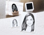 Custom Portrait Rubber Stamp - Single Individual, Hand Drawn, Personalized