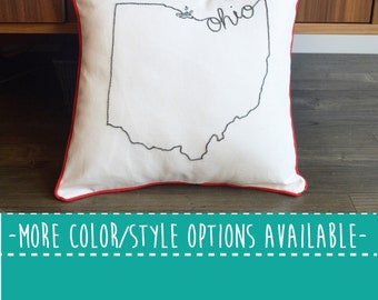 Ohio State Embroidered  Decorative Throw Pillow Cover, United States Columbus Cleveland Cincinati OSU Gift