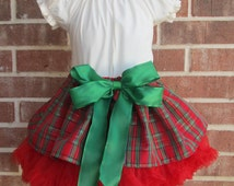 Custom Christmas Tartan Taffeta Plaid Glitter Christmas skirt, blouse and bow