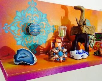floating nightstand / wood wall hanging vanity /reclaimed wood decor shelves /bedroom furniture /recycled wood shelving teal tiles 5 knobs