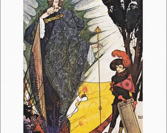 Kay and the Snow Queen vintage art nouveau fine art fairy tale print illustration by Harry Clarke Hans Andersen  8.5x11.5 inches