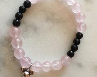Genuine Rose Quartz Bracelet, Rose Quartz and Black Rhombus Bracelet, Rose Quartz Stretch Bracelet, Rose Quartz and Mouse Key Bracelet