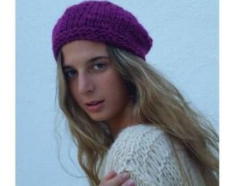 Wool purple beret, knit wool hat, knit wool beret, knit beanie, knit beret, women's knitwear, wool hat, winter trends, gift for her,