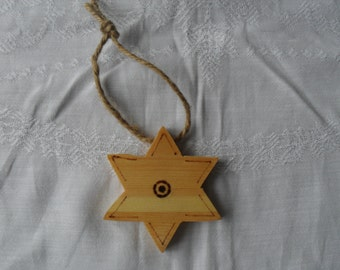Wooden Hanging Star (Six-Pointed)