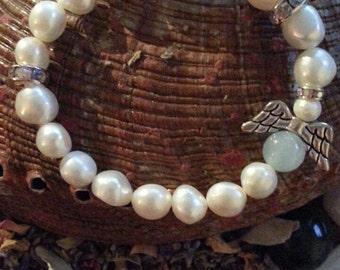 Gemstones Bracelet, Fresh Pearls Angel