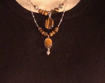 "Petite Tiger Eye Pendant Necklace. Sterling Silver.18"" Plain Setting or 17"" w/ Dangle. free US ship 49.04 ea"