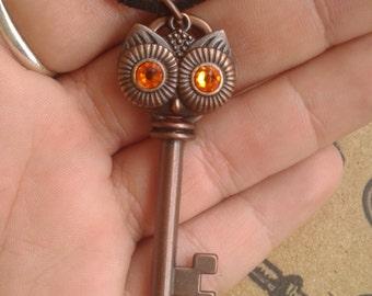 Owl Face Key Necklace
