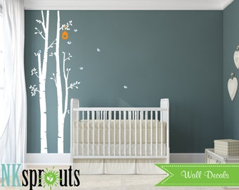 Birch Decal with Birds ,2 Birch decal, birch tree set, Birch forest,Nusery Birch trees, Modern Nursery, Nursery decals, Baby Decals