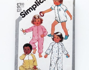 Vintage 1982 Simplicity Toddler's Snap Front Pajamas Sewing Pattern #5593 - Size 3 (Chest 22 - Waist 20 1/2)