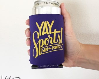 """Purple and Gold Foam """"Yay Sports! Win The Points!"""" Beverage Insulator Can Cooler Football Team Spirit"""