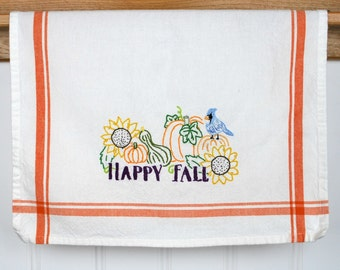 Happy Fall Dish Towel, Hand Embroidered Kitchen Towel, Kitchen Decor